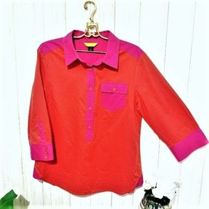 ST. JOHN Red and Pink Top Size 12